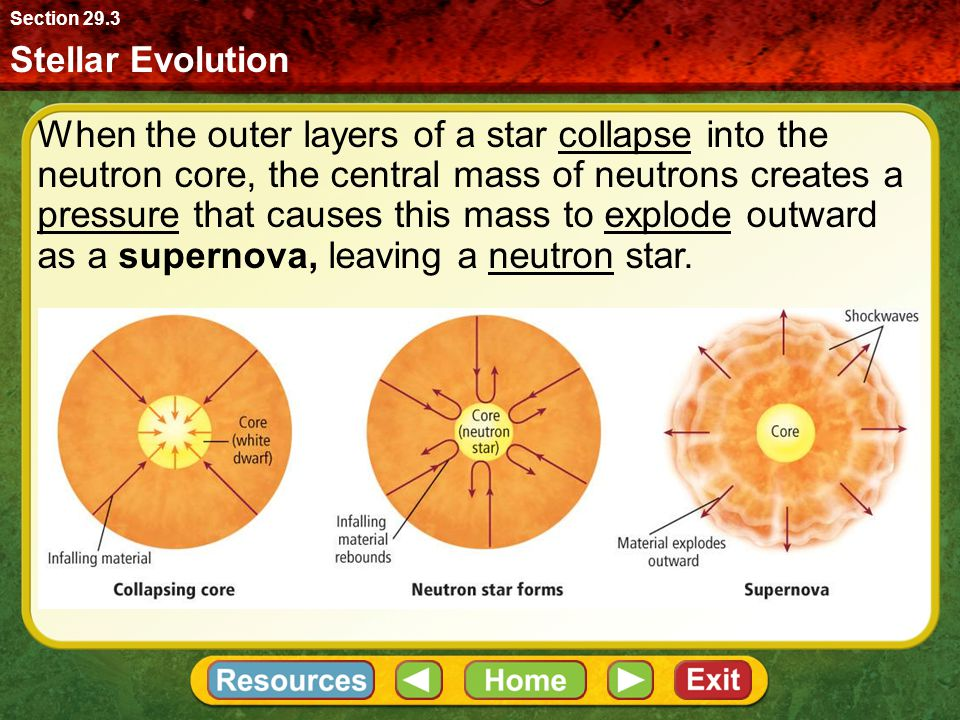Stellar Evolution Section 29.3 When the outer layers of a star collapse into the neutron core, the central mass of neutrons creates a pressure that ca