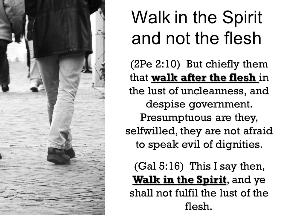 walk after the flesh (2Pe 2:10) But chiefly them that walk after the flesh in the lust of uncleanness, and despise government.