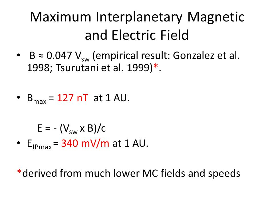 Maximum Interplanetary Magnetic and Electric Field B ≈ 0.047 V sw (empirical result: Gonzalez et al.