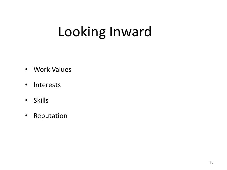 Looking Inward Work Values Interests Skills Reputation 10
