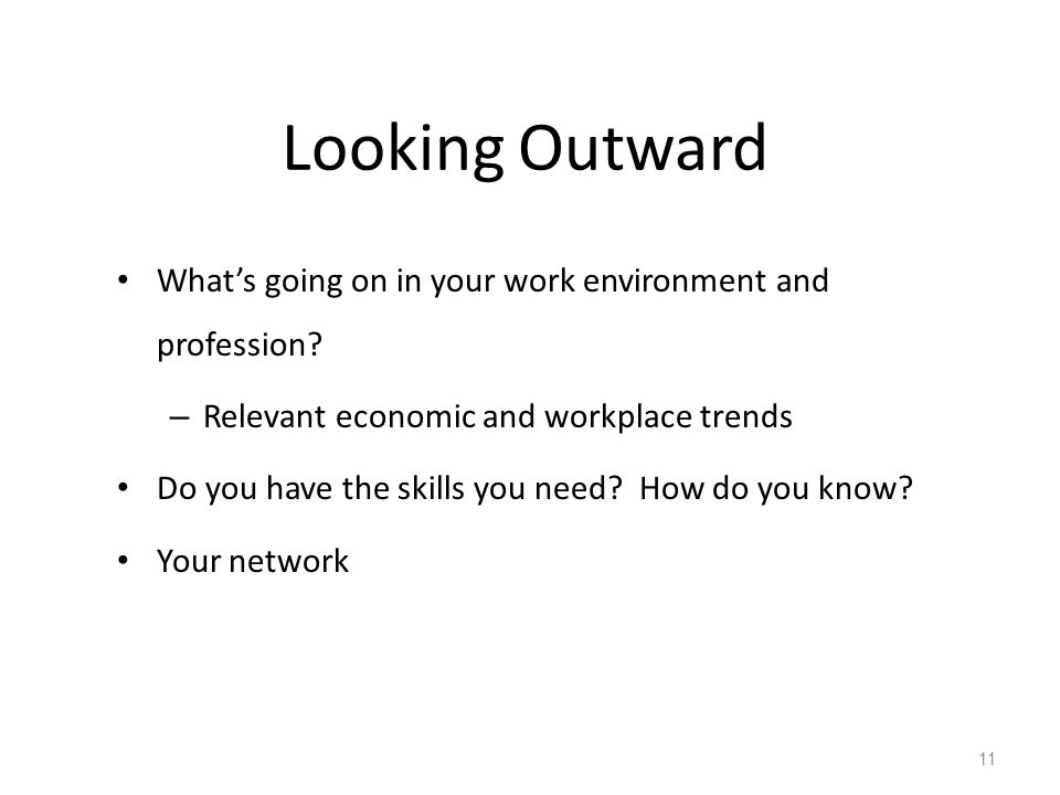 Looking Outward What's going on in your work environment and profession? – Relevant economic and workplace trends Do you have the skills you need? How