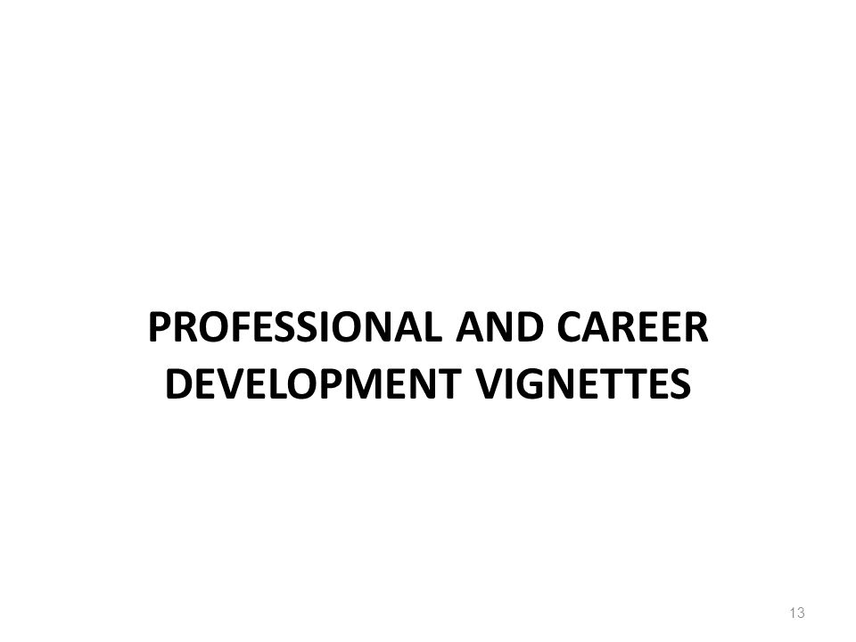 PROFESSIONAL AND CAREER DEVELOPMENT VIGNETTES 13