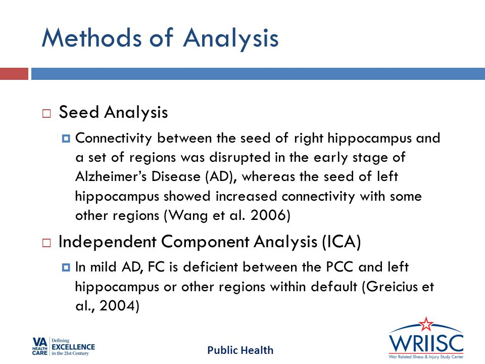 Public Health Methods of Analysis  Seed Analysis  Connectivity between the seed of right hippocampus and a set of regions was disrupted in the early stage of Alzheimer's Disease (AD), whereas the seed of left hippocampus showed increased connectivity with some other regions (Wang et al.