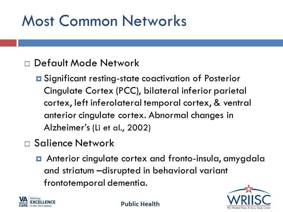 Public Health Most Common Networks  Default Mode Network  Significant resting-state coactivation of Posterior Cingulate Cortex (PCC), bilateral inferior parietal cortex, left inferolateral temporal cortex, & ventral anterior cingulate cortex.