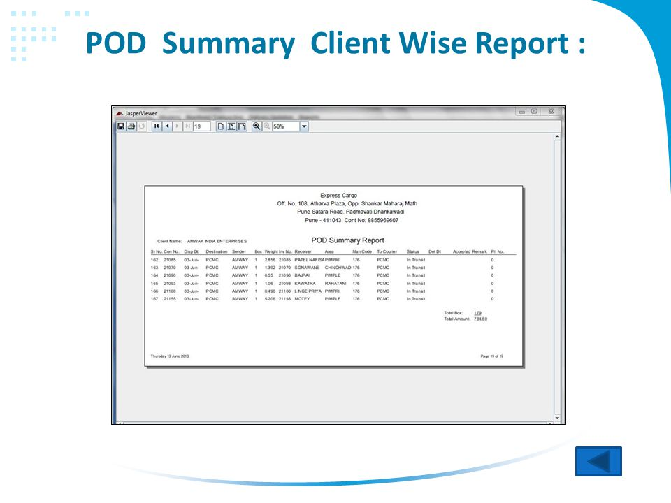 POD Summary Client Wise Report :