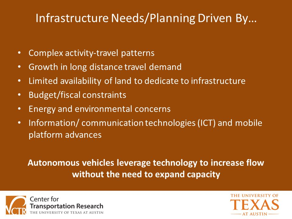Infrastructure Needs/Planning Driven By… Complex activity-travel patterns Growth in long distance travel demand Limited availability of land to dedicate to infrastructure Budget/fiscal constraints Energy and environmental concerns Information/ communication technologies (ICT) and mobile platform advances Autonomous vehicles leverage technology to increase flow without the need to expand capacity