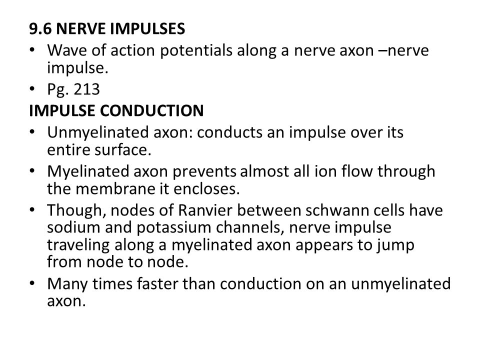 9.6 NERVE IMPULSES Wave of action potentials along a nerve axon –nerve impulse. Pg. 213 IMPULSE CONDUCTION Unmyelinated axon: conducts an impulse over