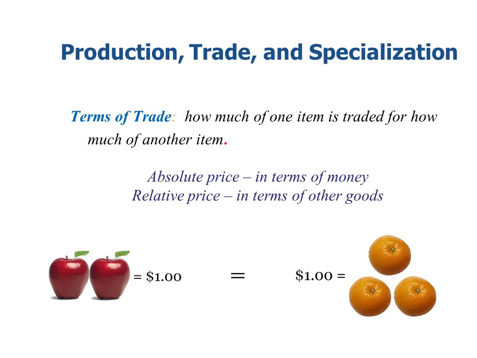 Production, Trade, and Specialization Terms of Trade: how much of one item is traded for how much of another item. Absolute price – in terms of money