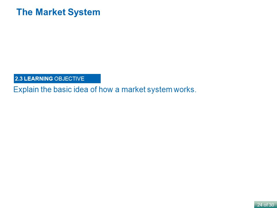24 of 30 The Market System Explain the basic idea of how a market system works. 2.3 LEARNING OBJECTIVE