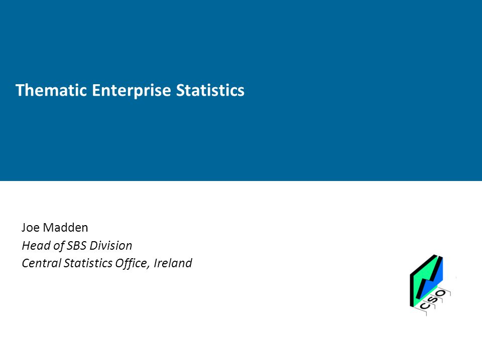 Thematic Enterprise Statistics Joe Madden Head of SBS Division Central Statistics Office, Ireland