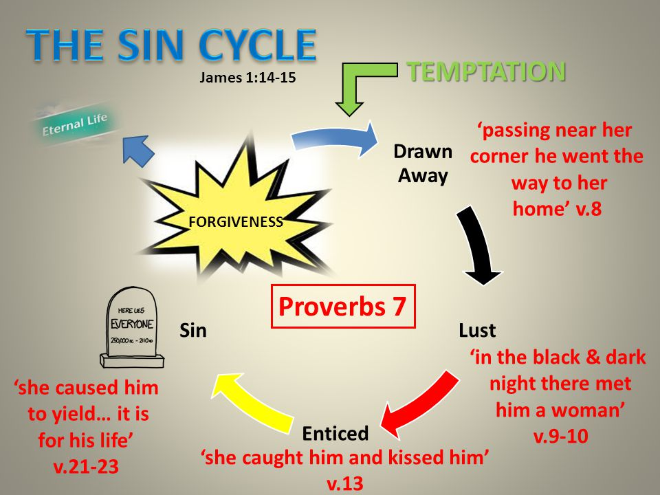 Drawn Away Lust Enticed Sin SIN IN THE FLESH James 1:14-15 FORGIVENESS TEMPTATION 'passing near her corner he went the way to her home' v.8 'in the black & dark night there met him a woman' v.9-10 'she caught him and kissed him' v.13 'she caused him to yield… it is for his life' v.21-23 Proverbs 7