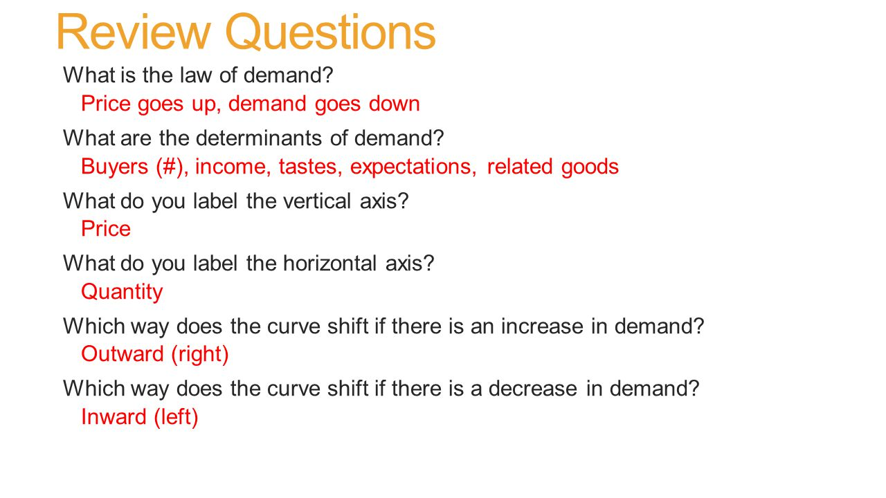 Review Questions What is the law of demand.