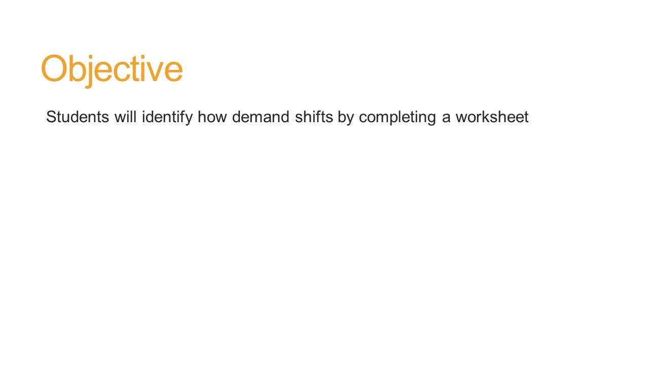 Objective Students will identify how demand shifts by completing a worksheet