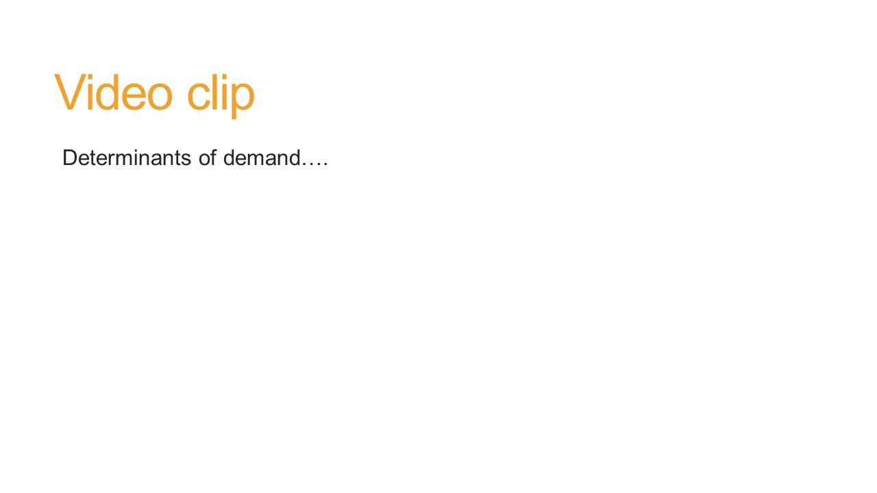 Video clip Determinants of demand….