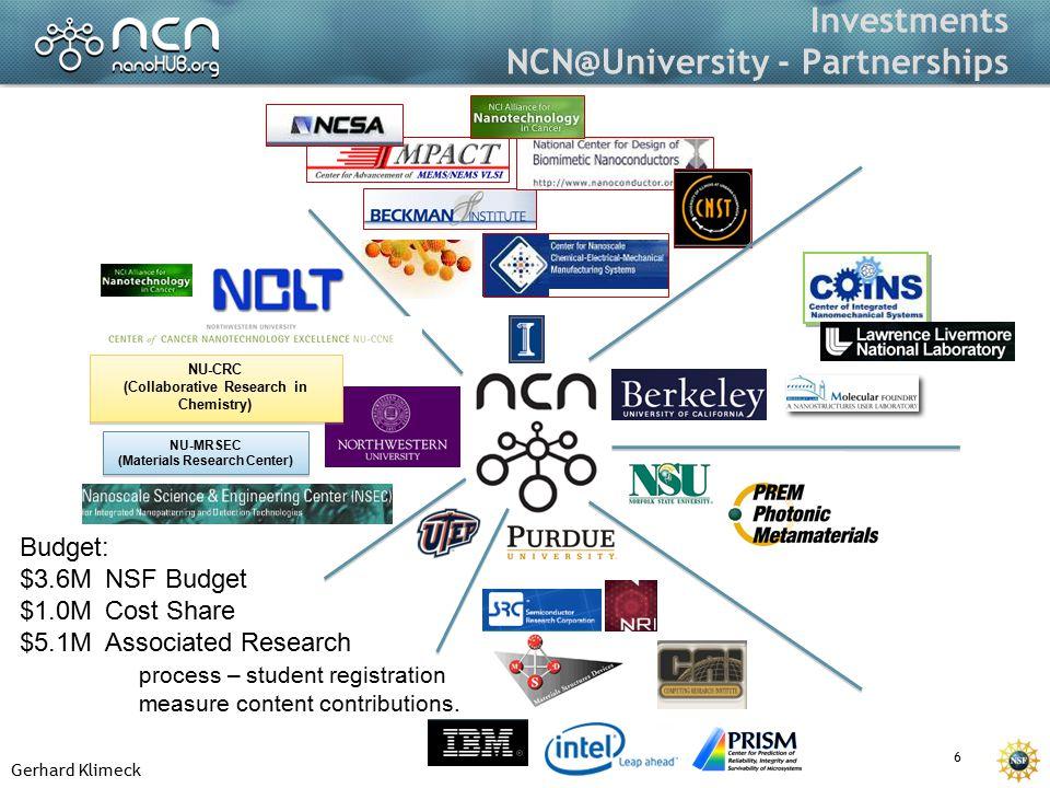 Gerhard Klimeck 6 Investments NCN@University - Partnerships NU-MRSEC (Materials Research Center) NU-MRSEC (Materials Research Center) NU-CRC (Collabor