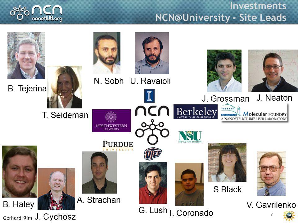 Gerhard Klimeck 7 Investments NCN@University - Site Leads J.