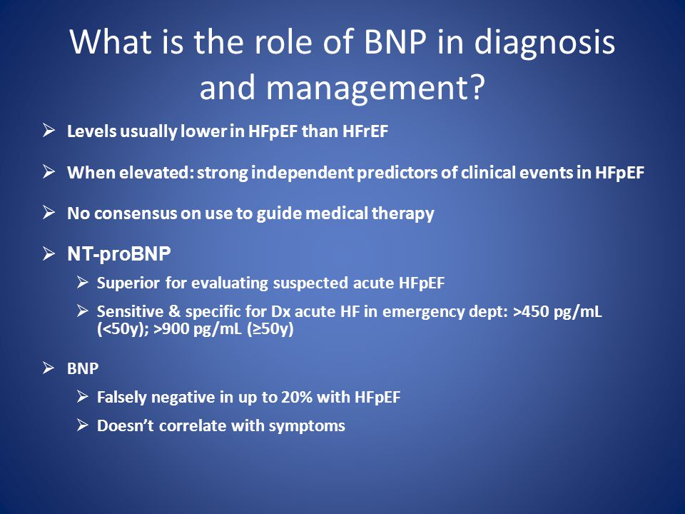 What is the role of BNP in diagnosis and management.