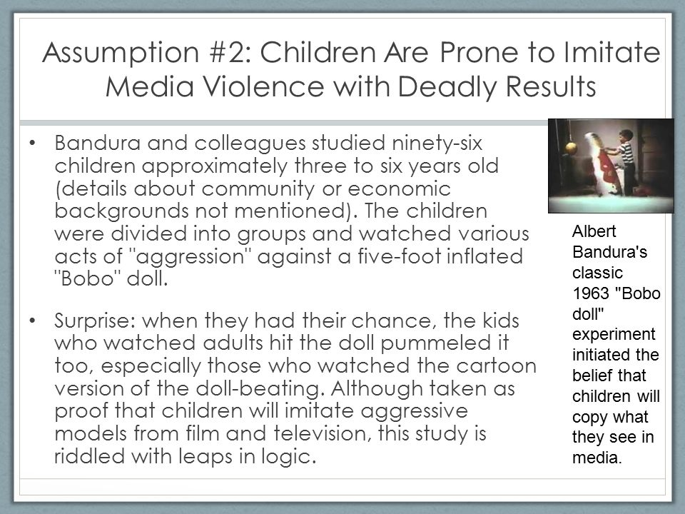 Assumption #3: Real Violence and Media Violence Have the Same Meaning Consider these three scenarios.
