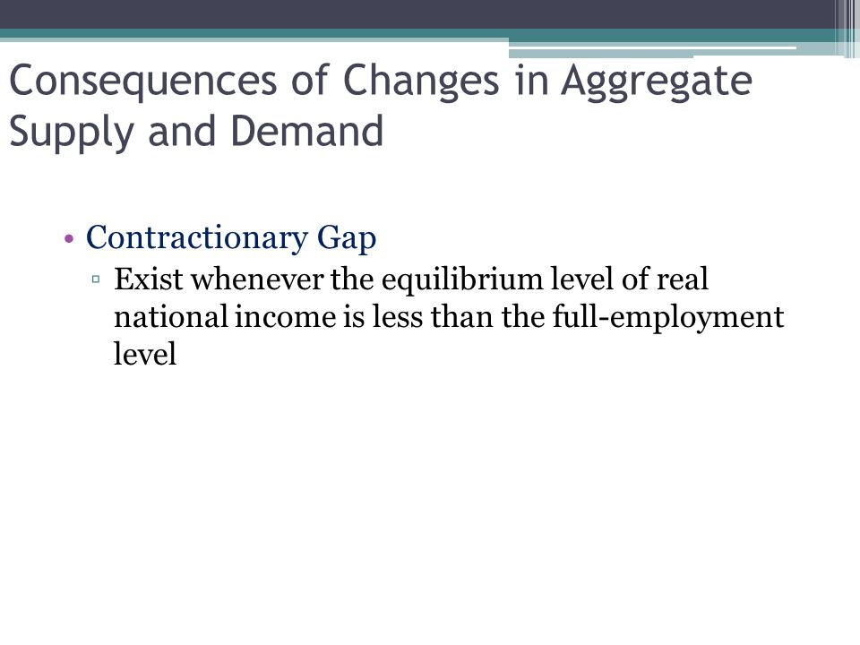 Consequences of Changes in Aggregate Supply and Demand Contractionary Gap ▫Exist whenever the equilibrium level of real national income is less than t