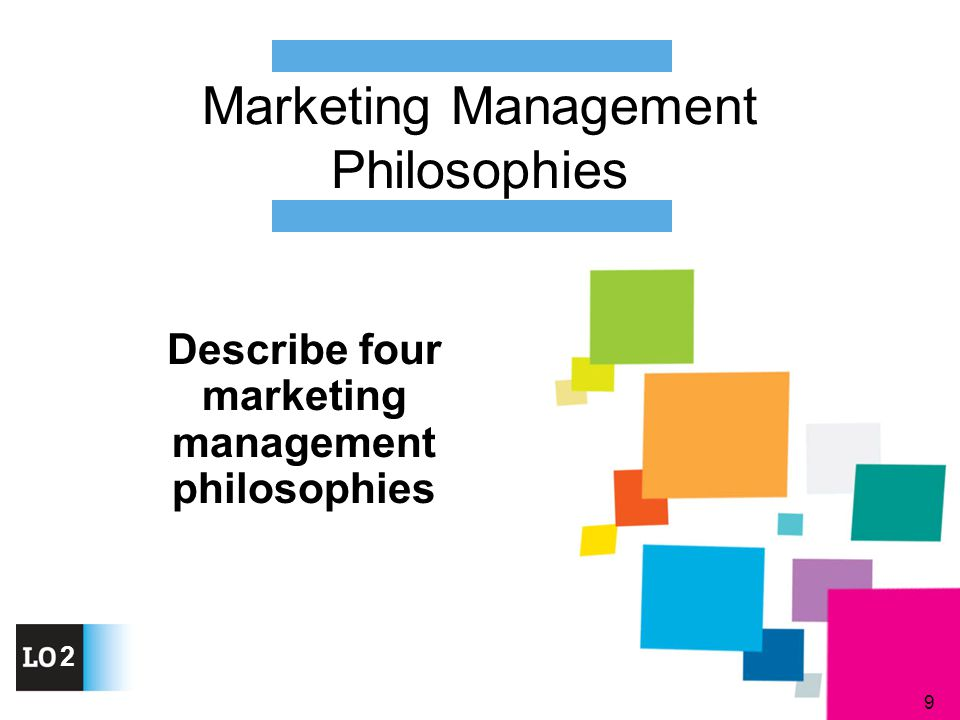 9 Describe four marketing management philosophies Marketing Management Philosophies 2