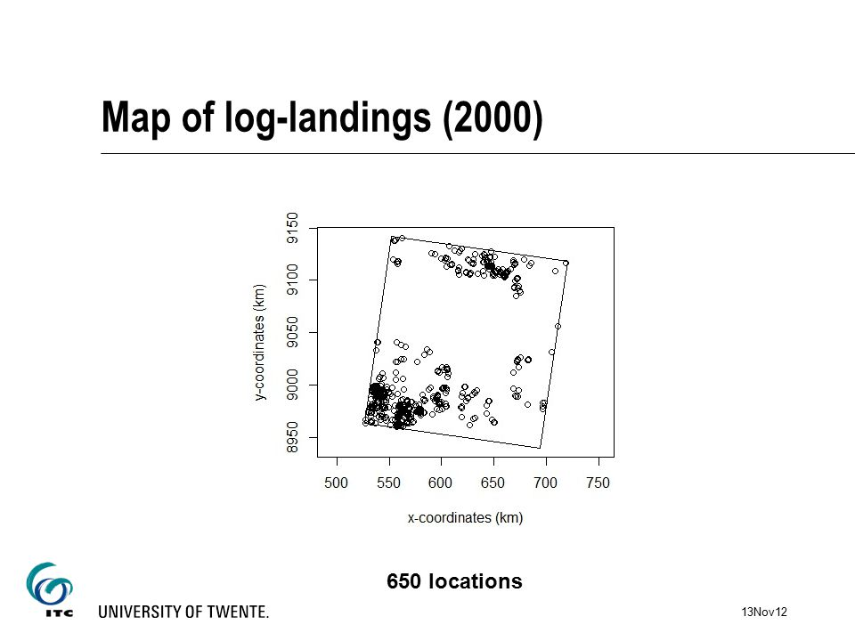 Map of log-landings (2000) 650 locations 13Nov12