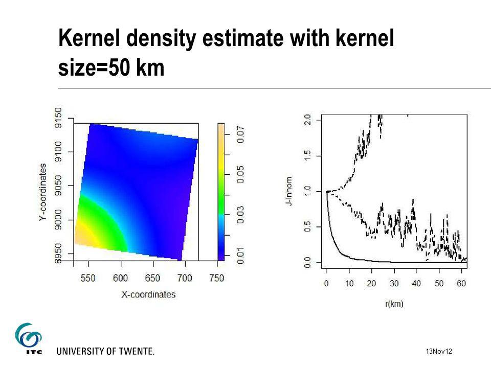 Kernel density estimate with kernel size=50 km 13Nov12