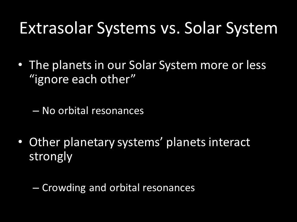 Extrasolar Systems vs.