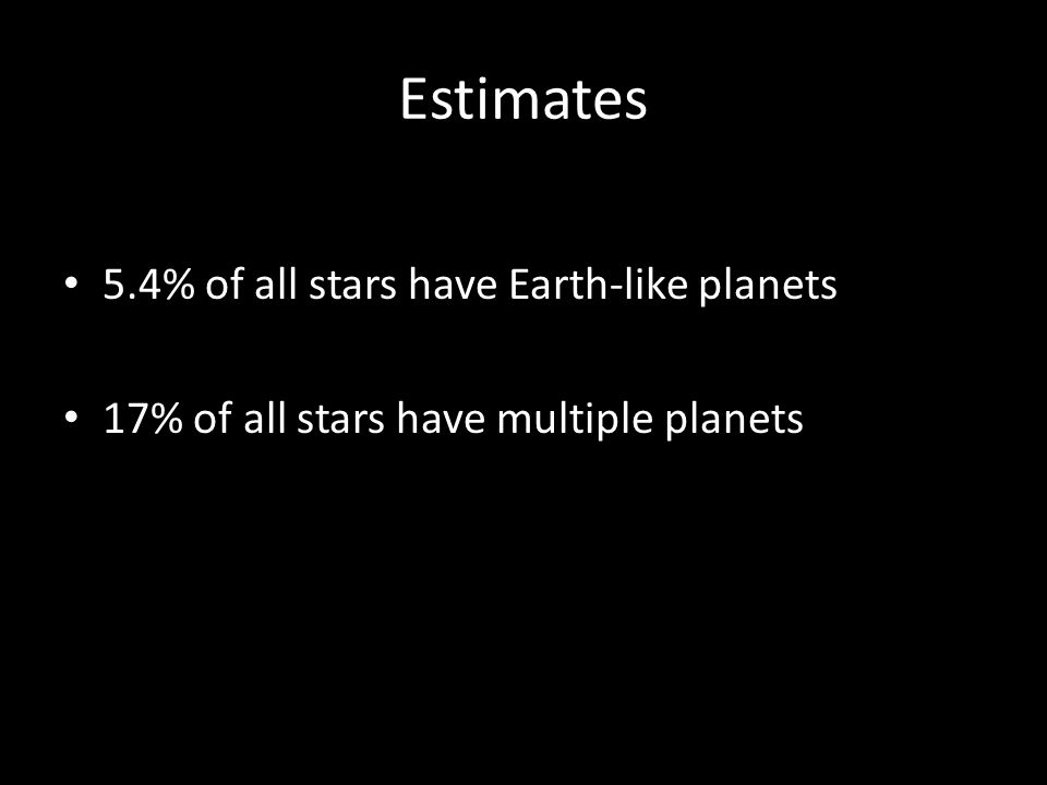 Estimates 5.4% of all stars have Earth-like planets 17% of all stars have multiple planets