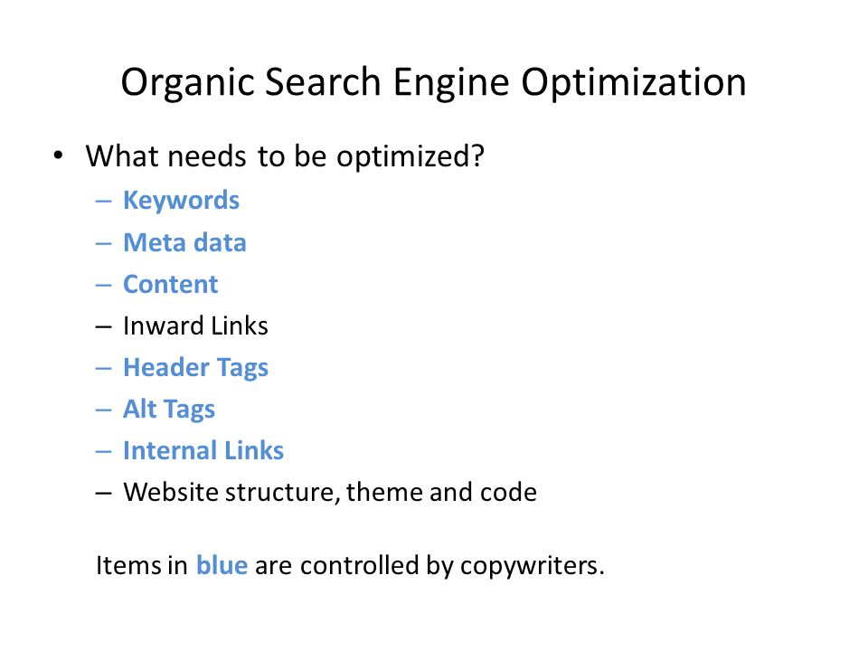 Organic Search Engine Optimization What needs to be optimized.