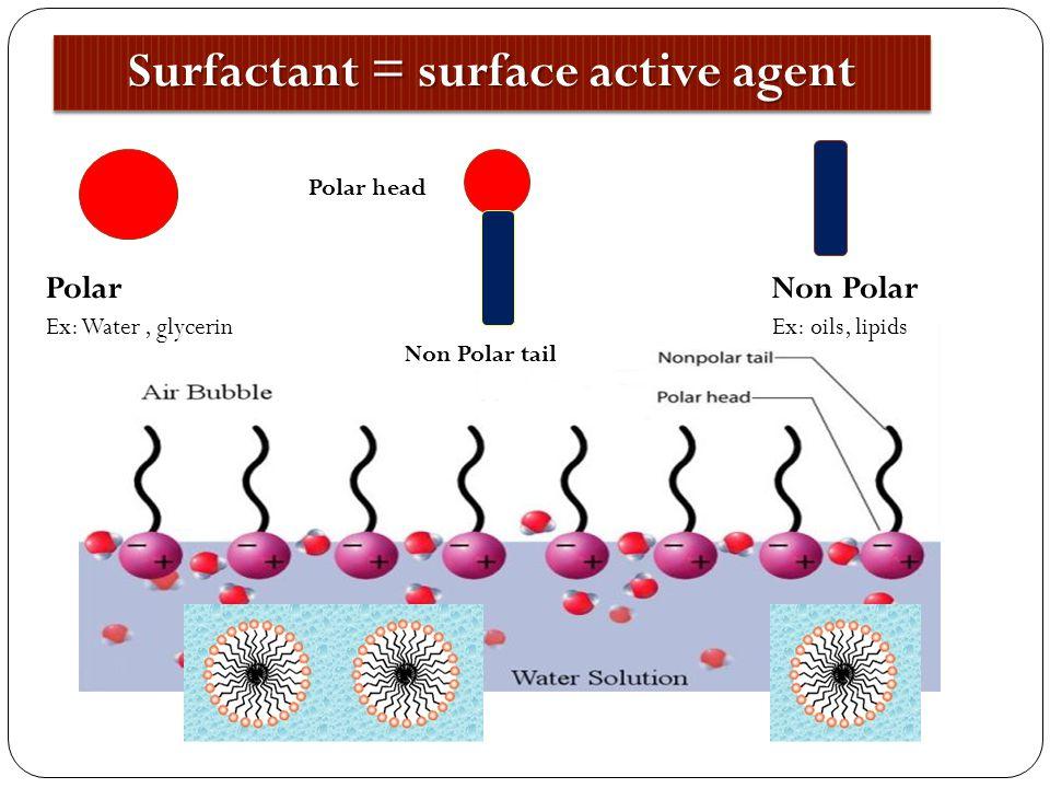 Polar Ex: Water, glycerin Non Polar Ex: oils, lipids Polar head Non Polar tail Surfactant = surface active agent