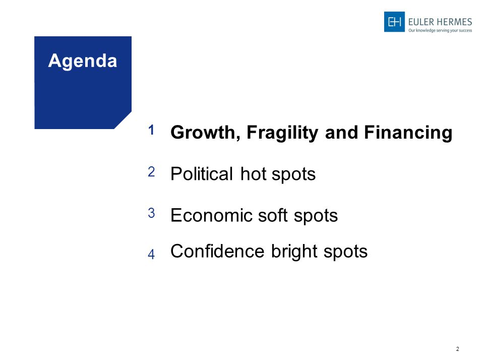 2 Agenda 1 Growth, Fragility and Financing 2 Political hot spots 3 Economic soft spots 4 Confidence bright spots
