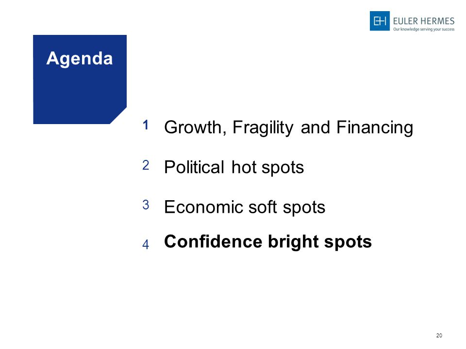 20 Agenda 1 Growth, Fragility and Financing 2 Political hot spots 3 Economic soft spots 4 Confidence bright spots