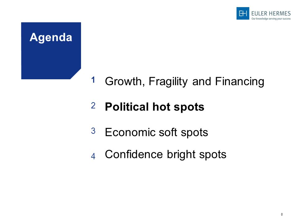 8 Agenda 1 Growth, Fragility and Financing 2 Political hot spots 3 Economic soft spots 4 Confidence bright spots