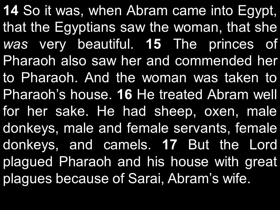 14 So it was, when Abram came into Egypt, that the Egyptians saw the woman, that she was very beautiful.