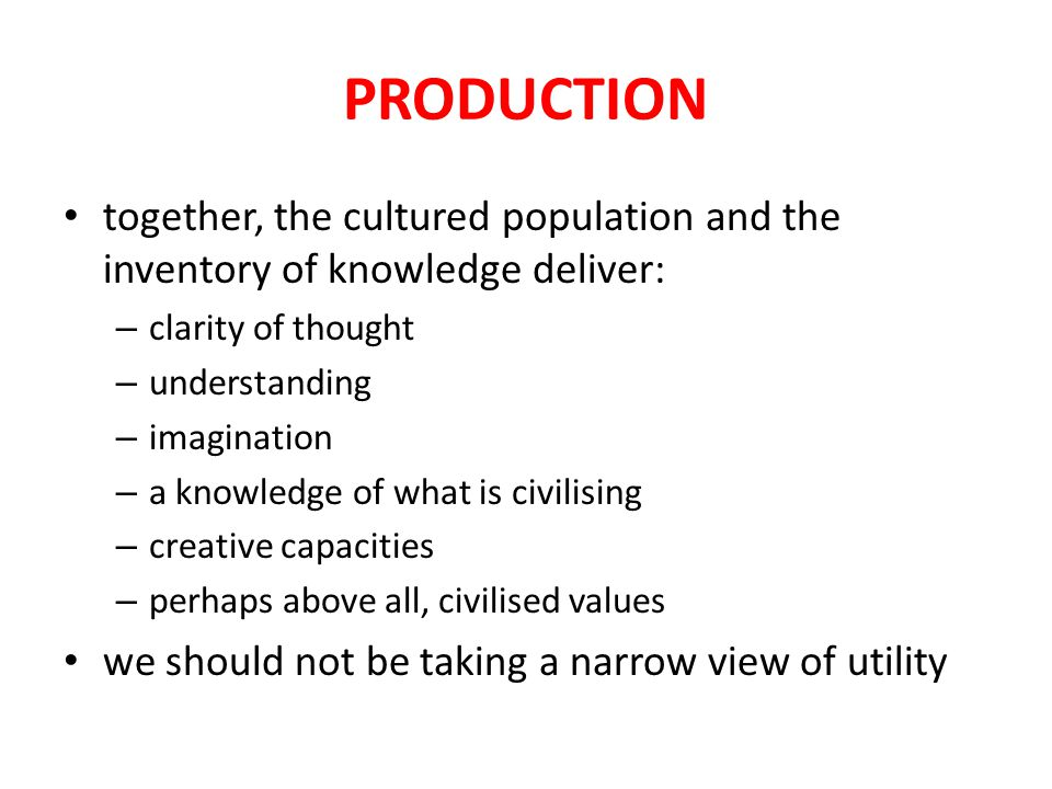 PRODUCTION we can then move beyond the general argument to look at some of the products of research that are obviously applicable – some examples from the UK History – History and Policy Group – history and urban regeneration – 'heritage science', maintaining and developing the skills base for the future