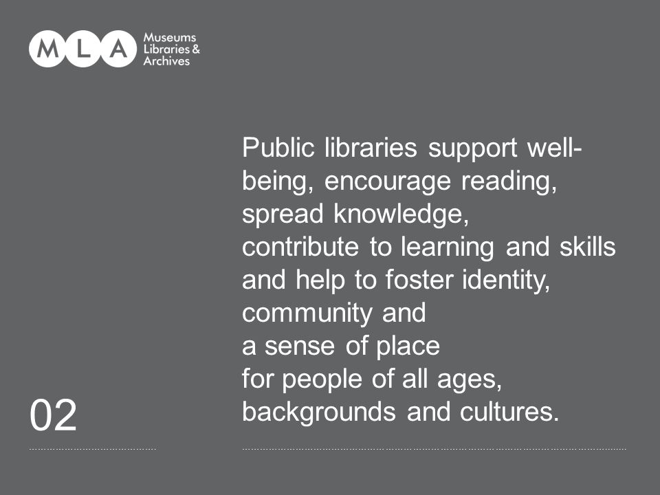 ……………………………………. 02 Public libraries support well- being, encourage reading, spread knowledge, contribute to learning and skills and help to foster ide
