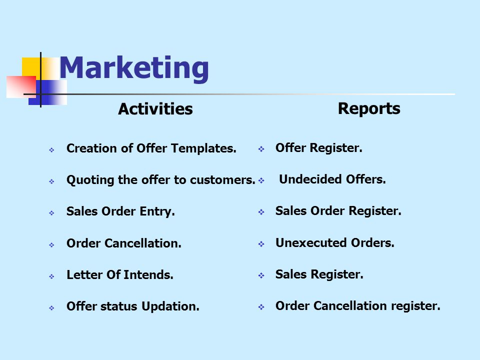 Marketing Activities  Creation of Offer Templates.