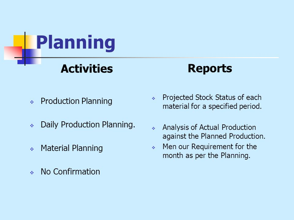 Planning Activities  Production Planning  Daily Production Planning.