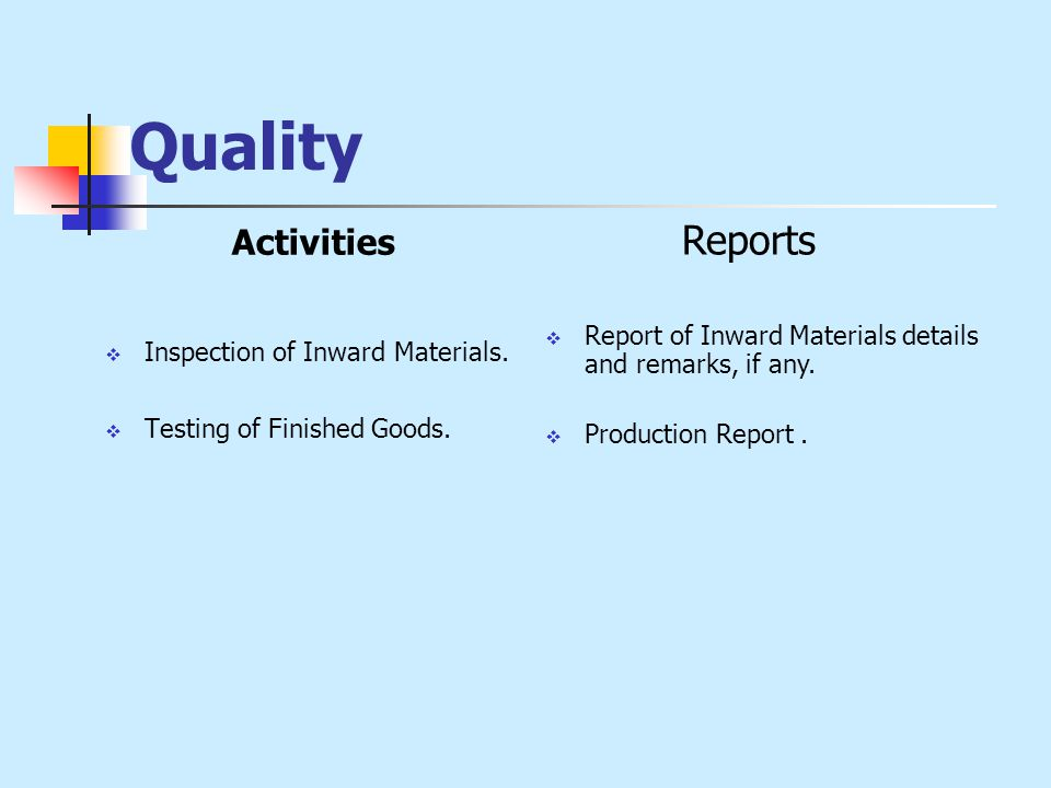 Quality Activities  Inspection of Inward Materials.  Testing of Finished Goods. Reports  Report of Inward Materials details and remarks, if any. 