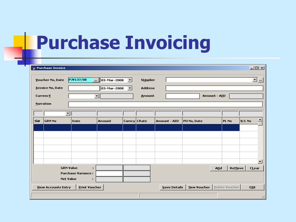 Purchase Invoicing