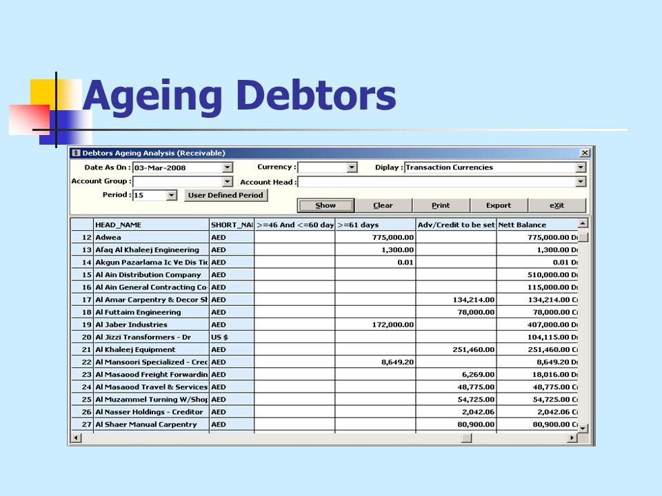 Ageing Debtors