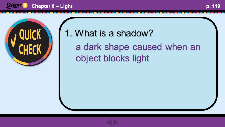 Chapter 6 ‒ Light p. 119 1. What is a shadow a dark shape caused when an object blocks light