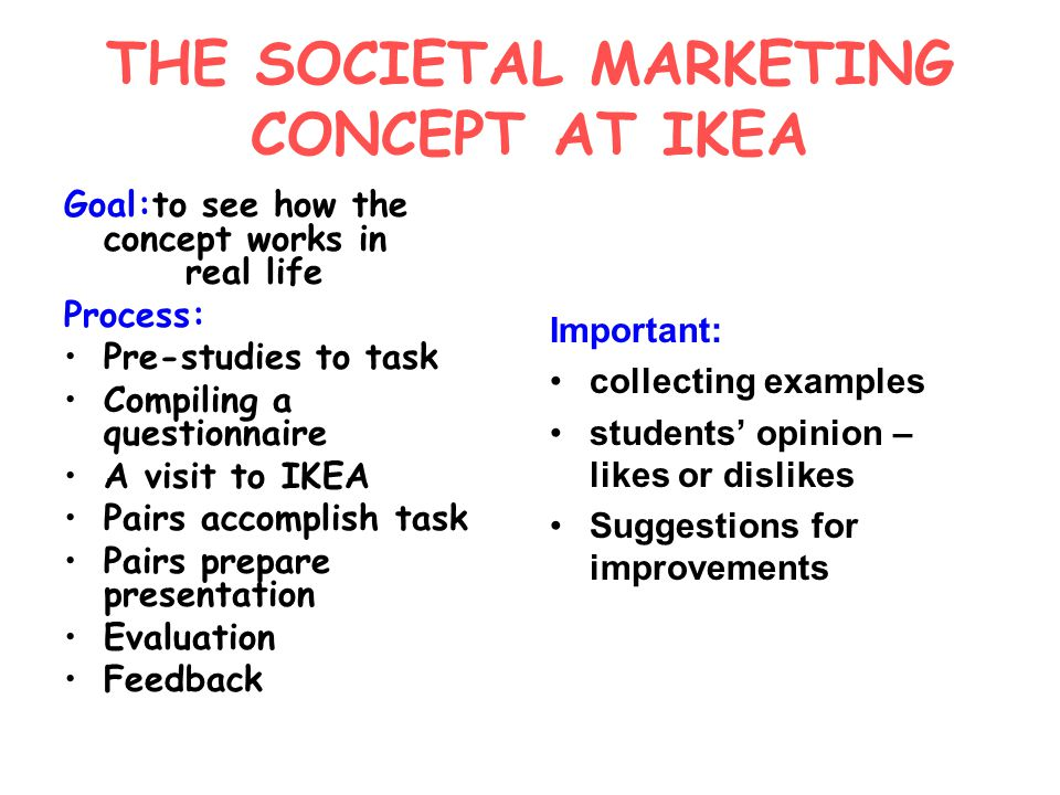 THE SOCIETAL MARKETING CONCEPT AT IKEA Goal:to see how the concept works in real life Process: Pre-studies to task Compiling a questionnaire A visit to IKEA Pairs accomplish task Pairs prepare presentation Evaluation Feedback Important: collecting examples students' opinion – likes or dislikes Suggestions for improvements