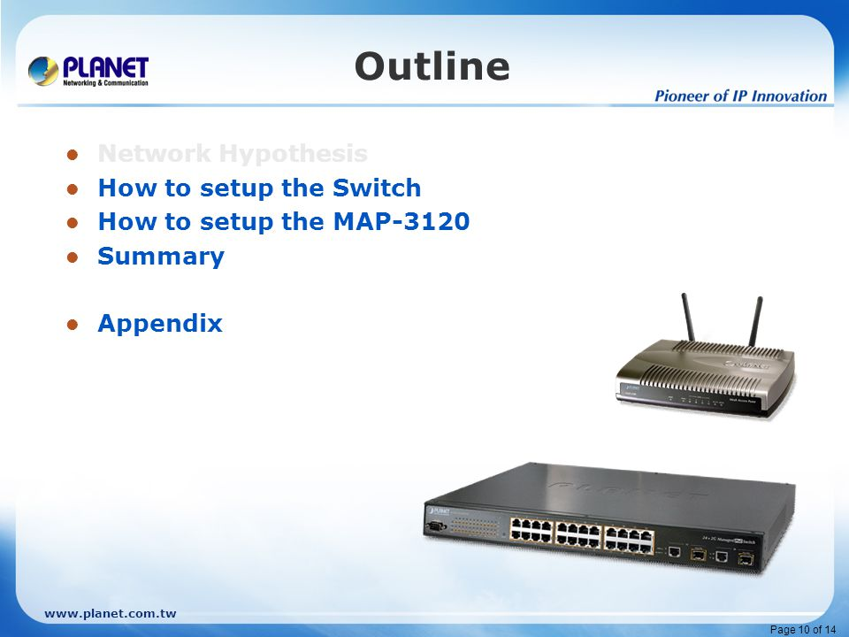 www.planet.com.tw Page 10 of 14 Outline Network Hypothesis How to setup the Switch How to setup the MAP-3120 Summary Appendix
