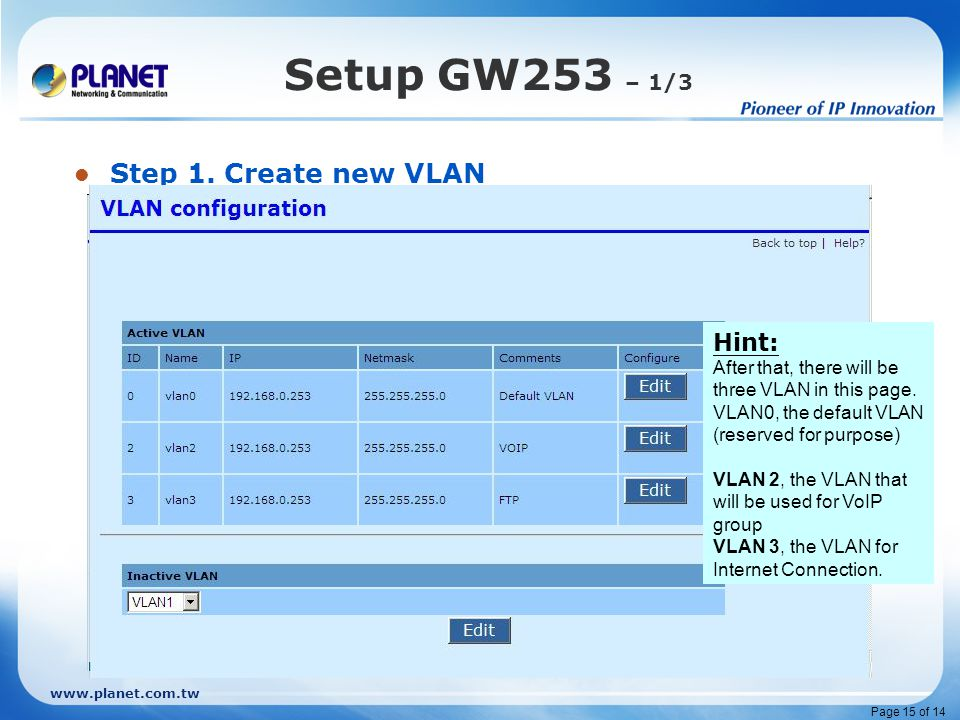 www.planet.com.tw Page 15 of 14 Setup GW253 – 1/3 Step 1. Create new VLAN 1. Click on VLAN 2. Click on Inactive VLAN, choose VLAN2 3. Then Edit 4. Key