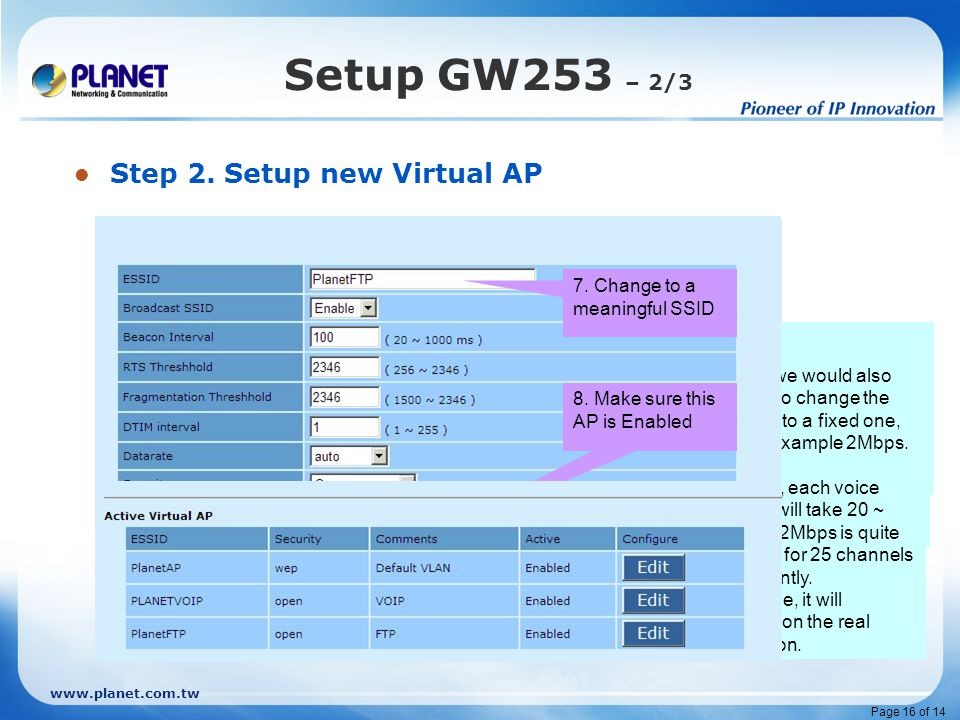www.planet.com.tw Page 16 of 14 Setup GW253 – 2/3 Step 2. Setup new Virtual AP 1. Click on Wireless The MAP-3120 will automatically turn on two virtua