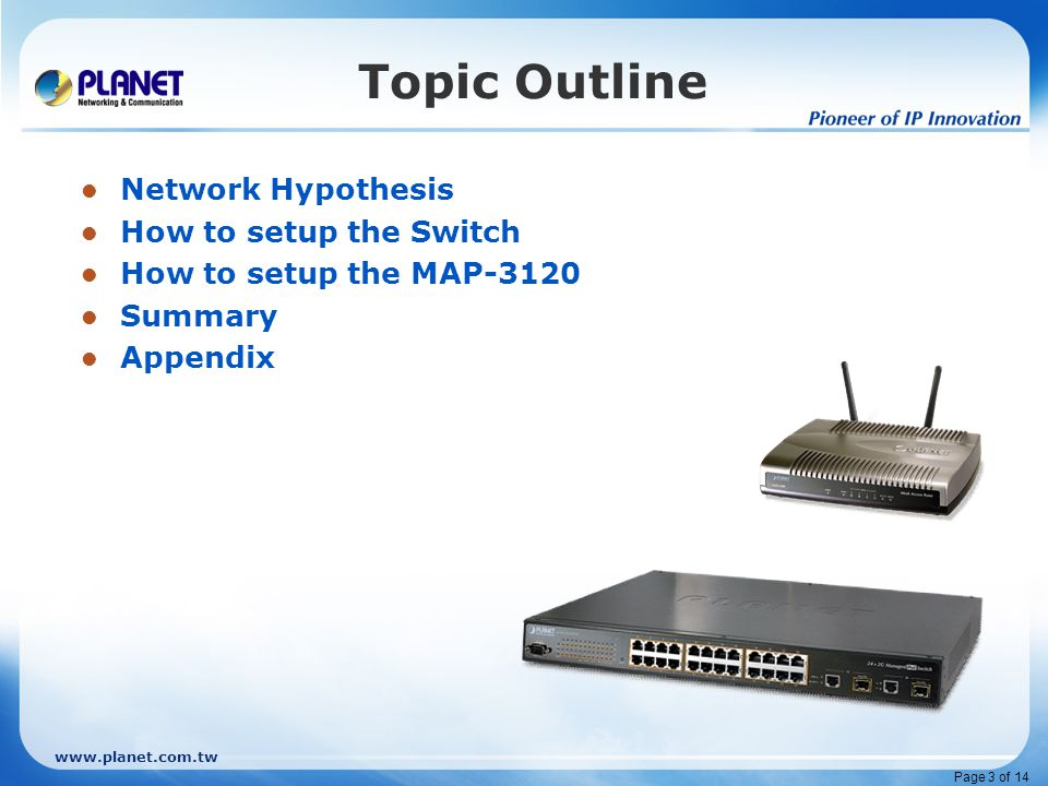www.planet.com.tw Page 3 of 14 Topic Outline Network Hypothesis How to setup the Switch How to setup the MAP-3120 Summary Appendix