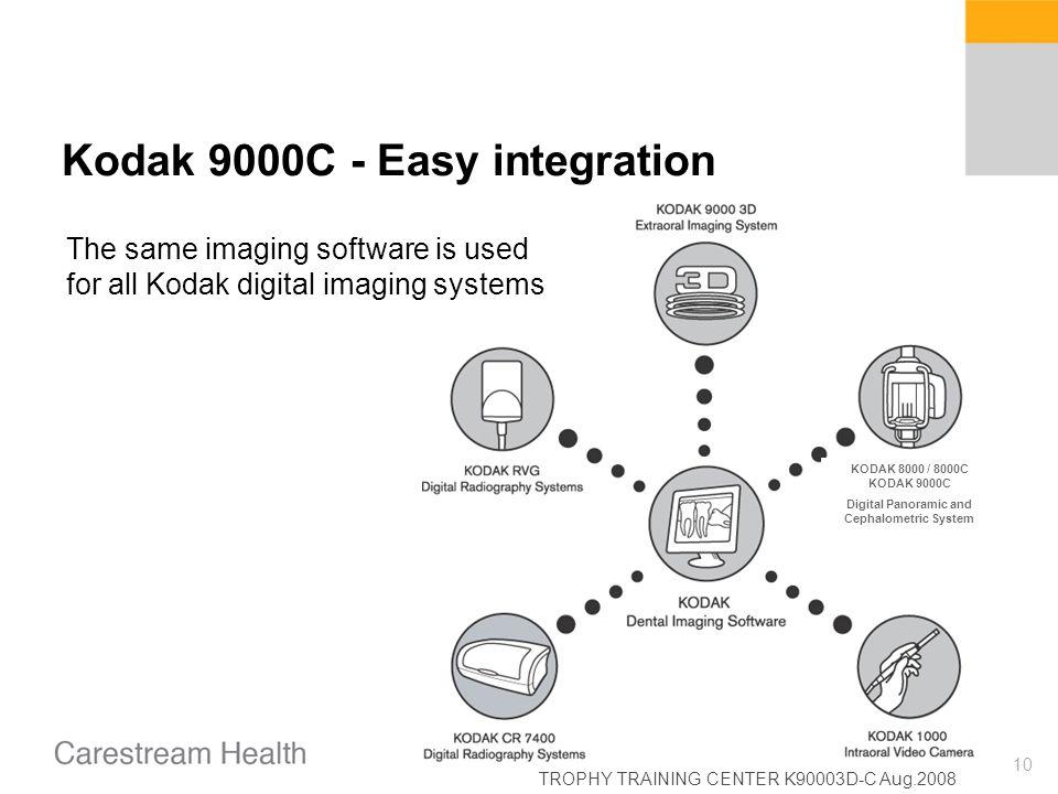 TROPHY TRAINING CENTER K90003D-C Aug.2008 10 Kodak 9000C - Easy integration The same imaging software is used for all Kodak digital imaging systems KO