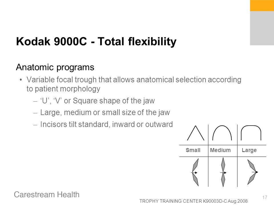 TROPHY TRAINING CENTER K90003D-C Aug.2008 17 Kodak 9000C - Total flexibility Anatomic programs Variable focal trough that allows anatomical selection