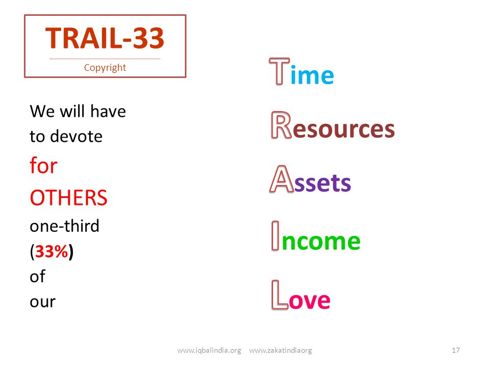 TRAIL-33 ------------------------------------------------------------------------------------------------------------- Copyright We will have to devote for OTHERS one-third (33%) of our 17www.iqbalindia.org www.zakatindiaorg
